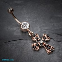 Rose Gold Shimmering Cross Patonce Belly Button Ring