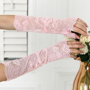 Spring and summer women's long sunscreen lace gloves lady's sexy fingerless lace gloves summer beach suncreen arm sleeve