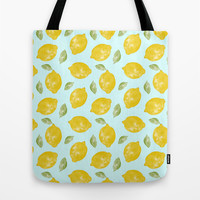 Lemon and Leaves Pattern Tote Bag by Doodle's Designs