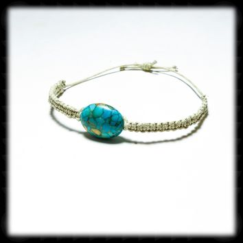 Micro Macrame Adjustable Size Bracelet with Patterned Turquoise Focal Bead