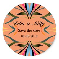 Modern green blue save the date wedding classic round sticker
