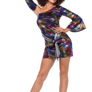 Disco Queen Purple Blue Gold Tie Dye Swirl Pattern One Shoulder Long Bell Sleeve Bodycon Mini Dress Halloween Costume