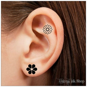 Temporary Tattoo 12 Flower Ear Tattoos Finger Tattoos