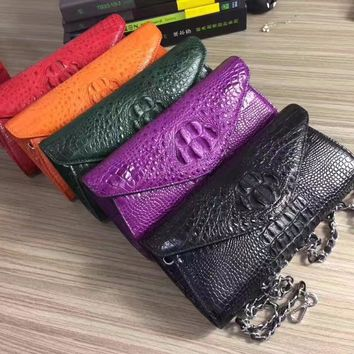 100% Real Genuine Crocodile Skin Ladies Evening Bag Exotic Leather Women's Envelop Shoulder Messenger Bag Female Clutch Purse