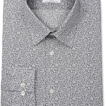 "Calvin Klein Men's Non Iron Stretch Slim Fit Print Point Collar Dress Shirt, Dove, 16"" Neck 34""-35"" Sleeve"