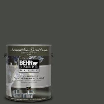 BEHR Premium Plus Ultra, 1-gal. #710F-7 Black Swan Semi-Gloss Enamel Interior Paint, 375301 at The Home Depot - Mobile