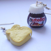 "Nutella ""hazelnut cream"" and bread earrings - handmade miniature polymer clay food jewelry"