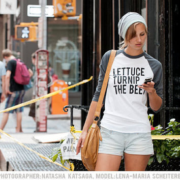lettuce turnip the beet  grey baseball jersey   unisex XS by coup