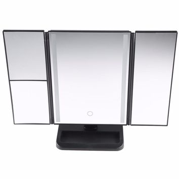 LED Light Touch Screen Makeup Mirrors 3-folding Mirror 1X/2X/3X Desktop Magnifying Mirror