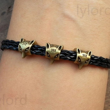 Fox Charm Bracelet  - Leather Braided-Personalized, Friendship gift , Christmas gift