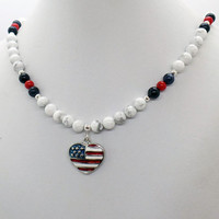 USA FLAG Heart White Howlite Blue Dumortierite Red Coral Necklace
