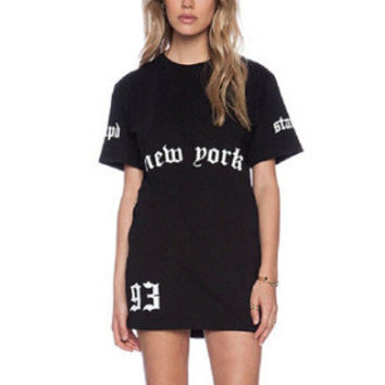 Boyfriend Alphabet Print T-shirts Casual One Piece Dress [6339065025]