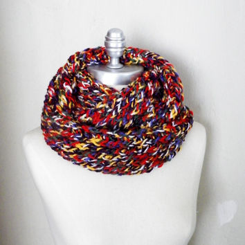 Colorful Knit Rainbow Space Dyed Infinity Scarf, Fall Scarf, Winter Scarf Loop Scarf, Mobius Scarf, Fashion Knitwear, Fall Essentials