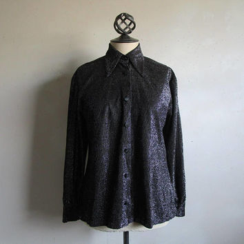 70s Silver Metallic Vintage Shirt Black Lurex 1970s Blouse Evening Holiday Top