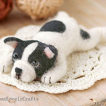 Japanese Needle Wool Felt Dog Mascot DIY Kit - French Bulldog - Sachiko Susa - Kawaii Hamanaka - F19