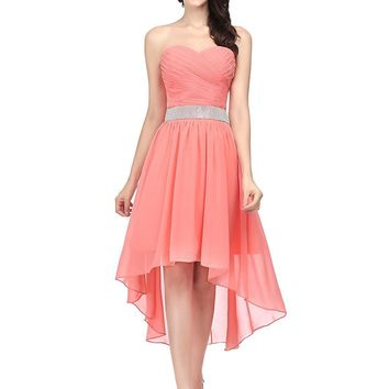 US Womens Hi-Lo Prom Dresses Beaded Chiffon Cocktail Party Porm Gowns