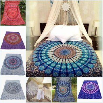 7 Types Portable Movable Boho India Mandala 210x150cm Chiffon Tapestry Wall Hanging Bed Manta Beach Towel