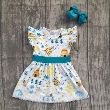 2018 new Summer dress girl kids wear maxi dress bee clothing hot sell super cute dress with matching bow
