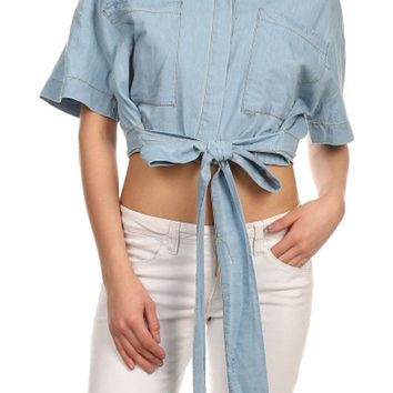 Denim Solid Collard 3/4 Sleeve Front Waist Tie Cropped Button Down Shirt Blouse