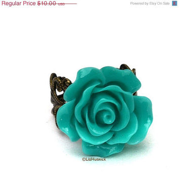 Christmas in July SALE Teal Rose Ring Vintage Style Flower Jewelry