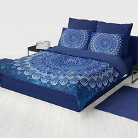 Blue Mandala Duvet Cover or comforter - sapphire blue and white with geometric mandala bedding