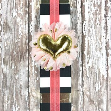 Coral Planner Band with Puffy Gold Heart on Light Pink & Gold Flower