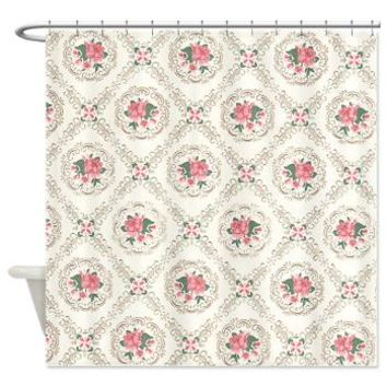 Vintage Floral Arrangements Pattern Shower Curtain> Vintage Antique Victorian Floral> Pattern Designs