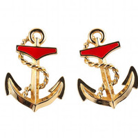 80s SAILOR Anchor Earrings Nautical Red and Gold by TheBabyDynosaur