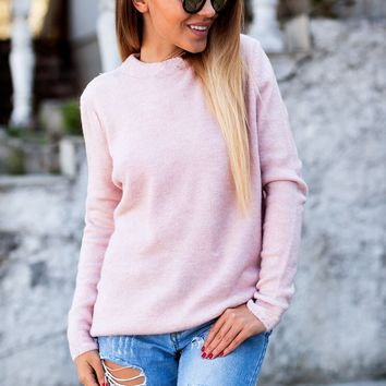 VNeck Twist Sweater with Necklace