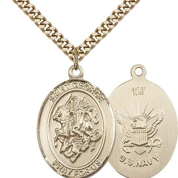 14K Gold Filled St George Navy Military Soldier Catholic Medal Necklace 617759779486