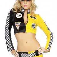 3 PC Black Yellow Full Throttle Costume @ Amiclubwear costume Online Store,sexy costume,women's costume,christmas costumes,adult christmas costumes,santa claus costumes,fancy dress costumes,halloween costumes,halloween costume ideas,pirate costume,dance