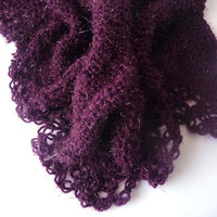 Handmade Knitting Shawl - Glittering Purple
