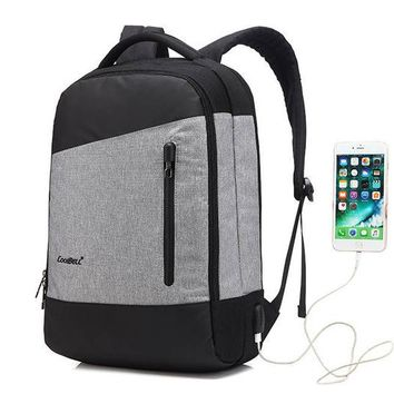 Cool Backpack school COOLBELL 15 inch Laptop Backpack With USB Charging Port Multi-compartment Travel Bag Rucksack Waterproof Knapsack For Men Women AT_52_3