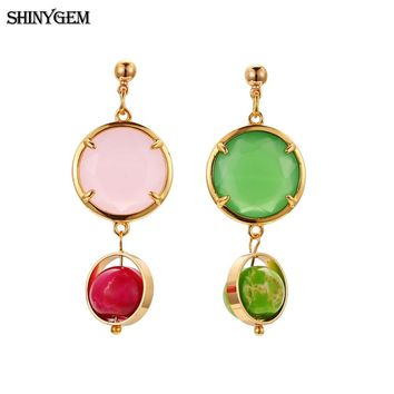 ShinyGem Natural Crystal Drop Dangle Earrings Pure Gold Plating Rhinestone Drop Earrings Pink & Green Crystal Earrings For Women