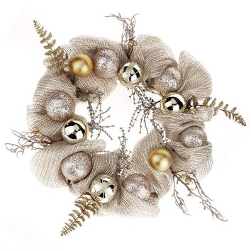 Decorated Mesh Ribbon Glitter Twigs Christmas Wreath, Silver/Gold, 21-Inch
