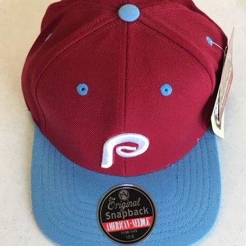 DCCKIHN AMERICAN NEEDLE PHILADELPHIA PHILLIES RETRO MAROON SKY SNAPBACK ADJUSTABLE HAT