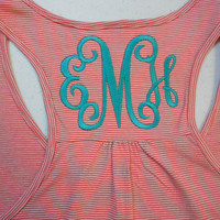 Monogram Racer Back Tank Top  Font Shown INTERLOCKING