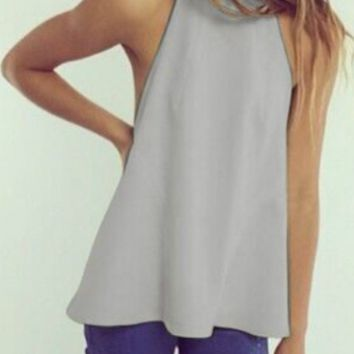 Casual Sleeveles Halter Neck Backless Chiffon Top