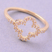 Quatrefoil Rhinestone Ring - Gold or Silver