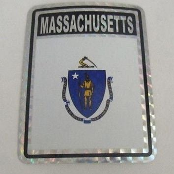 "Massachusetts Flag Reflective Sticker 3""x4"" Inches Adhesive Car Bumper Decal"