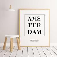 Amsterdam Print, Amsterdam City Print, Netherlands Print, Coordinates Print, Printable Wall Art, Bedroom Wall Art, Typography Print, Travel