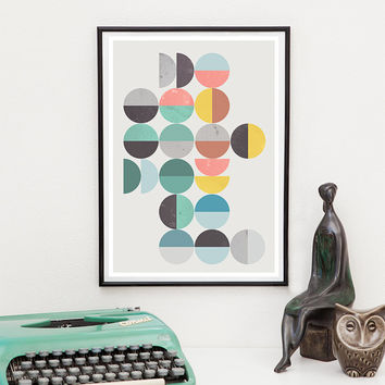 Geometric print, Retro wall art, Geometric art print, Mid century modern, geometric art, multi colored print, abstract art, scandinavian art