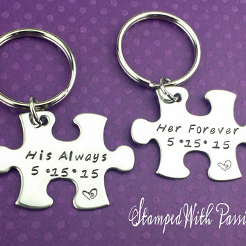 His Always and Her Forever Puzzle Piece Keychain Set  With Date