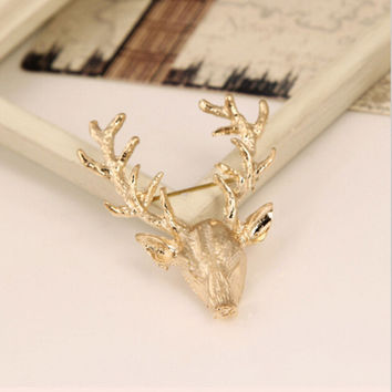 Animal Xmas Popular Brooches Styling Jewelry S Cute Gold Plated Deer Antlers Head Pin Brooches SM6