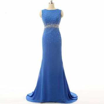 Beaded Open back Elegant Dresses Blue