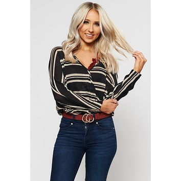 Embrace It Striped Top (Black/Taupe)