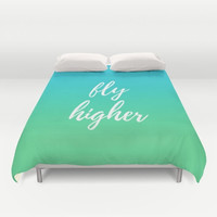 Duvet Cover, Blue and Green Bed, Motivational Sayings, Fly Higher Bedding, Customizable Bed, Queen Duvet, King Bedspread, Personalized Color