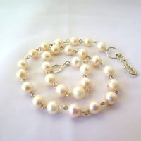 White pearl strand, white pearl bridal necklace, sterling silver, fine jewelry gift