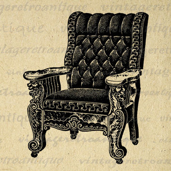 Digital Antique Chair Graphic Image Furniture Printable Illustration Download Vintage Clip Art for Transfers etc HQ 300dpi No.1130