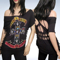 Guns N Roses / Cut / Fringed / Skull Cut Out / Appetite for Destruction / Band T Shirt Size M